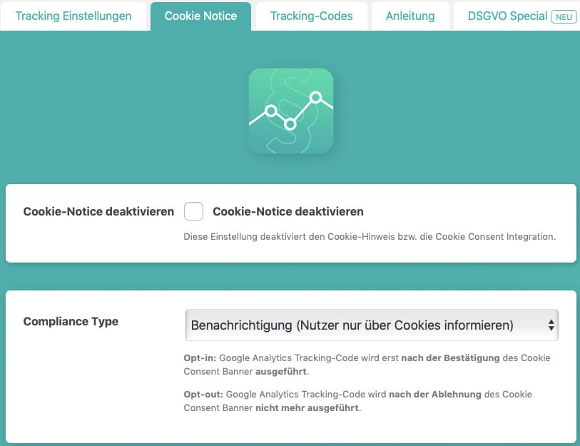 Die Cookie-Notice-Einstellungen des WordPress-Plugins Google Analytics Germanized, Teil 1