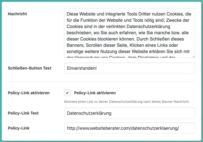 Die Cookie-Notice-Einstellungen des WordPress-Plugins Google Analytics Germanized, Teil 3