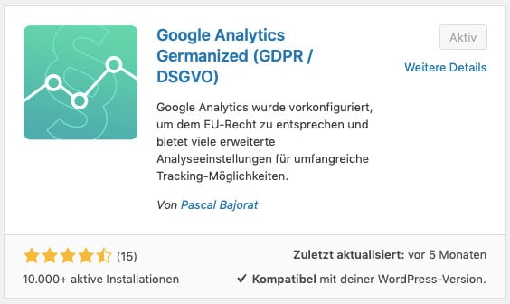 Installation des WordPress-Plugins Google Analytics Germanized