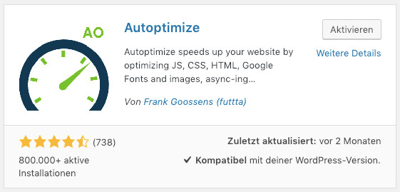 Das WordPress-Optimierungs-Plugin Autoptimize