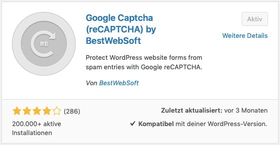 Das WordPress-Plugin Google Captcha (reCaptcha)