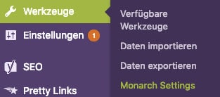 Die Einstellungen des WordPress-Plugins Monarch im Seitenmenü des WordPress-Dashboards