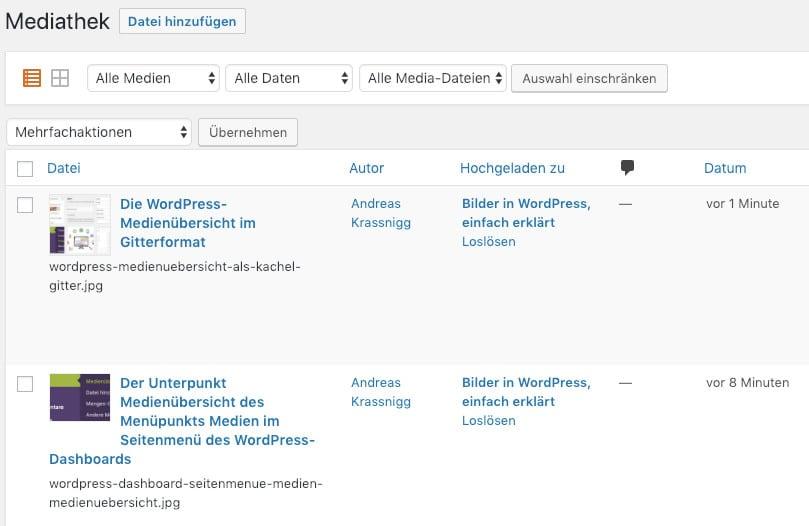 Die WordPress-Medienübersicht im Listenformat
