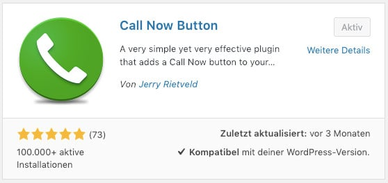 Das WordPress-Plugin Call Now Button