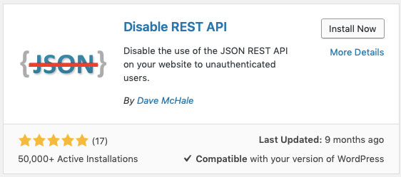 Die Informationsbox zum WordPress Plugin Disable REST API
