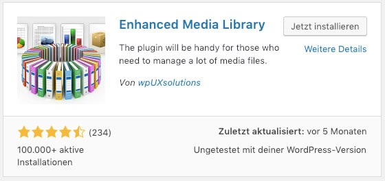 Das WordPress-Plugin Enhanced Media Library