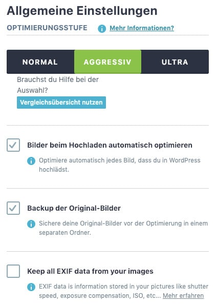 Die Optimierungs-Einstellungen des WordPress-Bilder-Optimierungs-Plugins Imagify