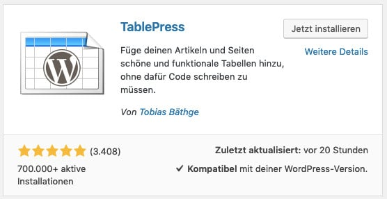 Das WordPress-Plugin TablePress installieren