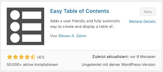 Das WordPress Plugin Easy Table of Contents