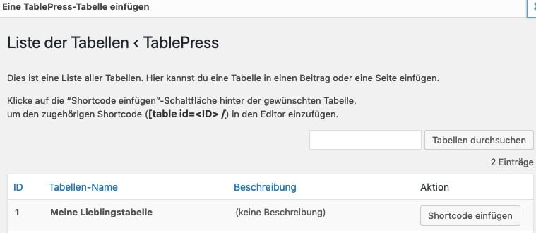Auswahl der gewünschten Tabelle zum Einfügen über den TablePress-Button in der Werkzeugleiste des Classic Editors in WordPress