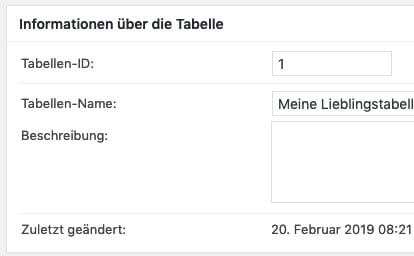 Informationen über eine Tabelle im WordPress-Plugin TablePress
